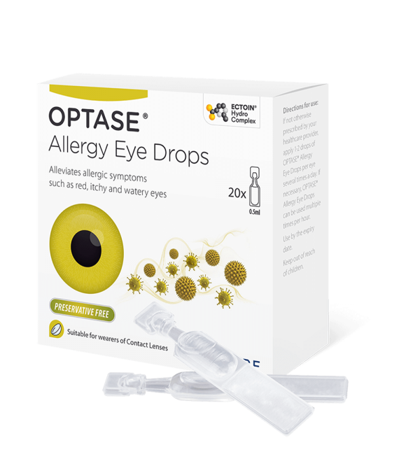OPTASE preservative free allergy eyedrops showing pack